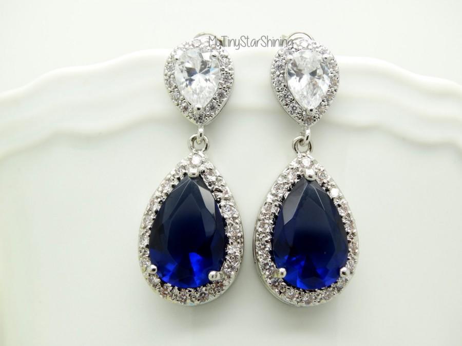 Navy Blue Earrings Royal Dark Bridal Large Shire Teardrop