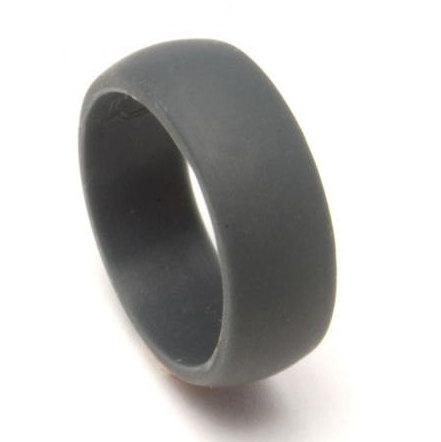 Set Of Two 2 Silicone Rings Mens Ring Flexible Wedding Band Dark Gray Color