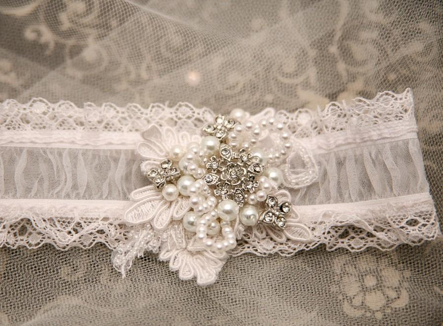 Свадьба - Shear Wedding Garter with Lace Pearls and Rhinestones, Bridal Garter Beaded Wedding Garter Set