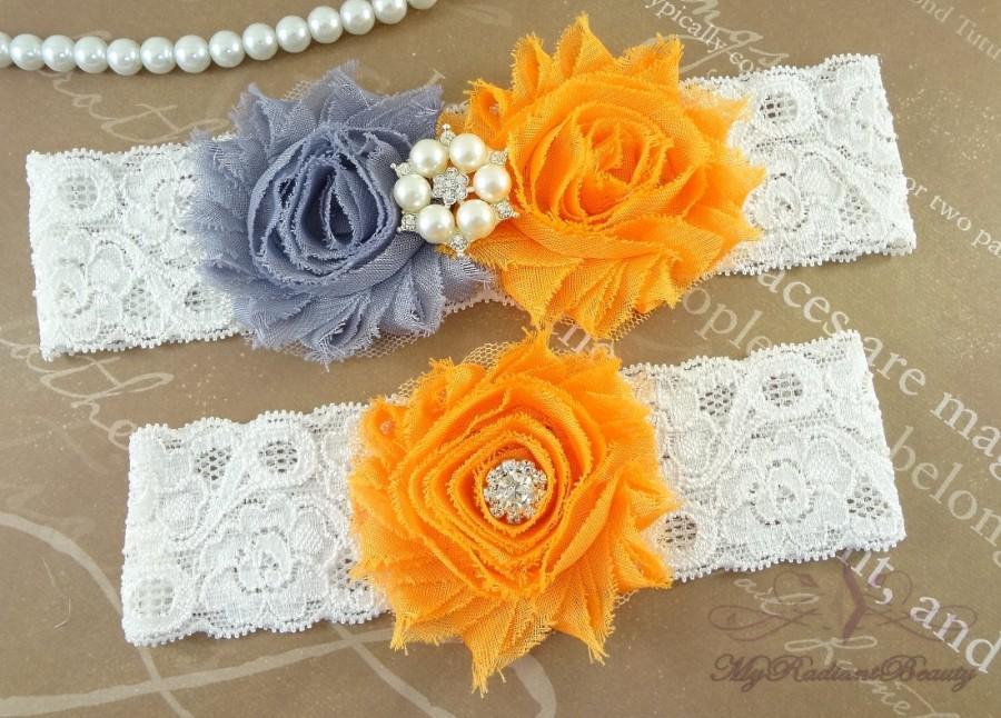زفاف - Wedding Garter, Bridal Garter, Garter, Shabby Chic Gray Orange Garter, Garter Set, Garter belt, Handmade Garter, Lace Garter GTF0028O