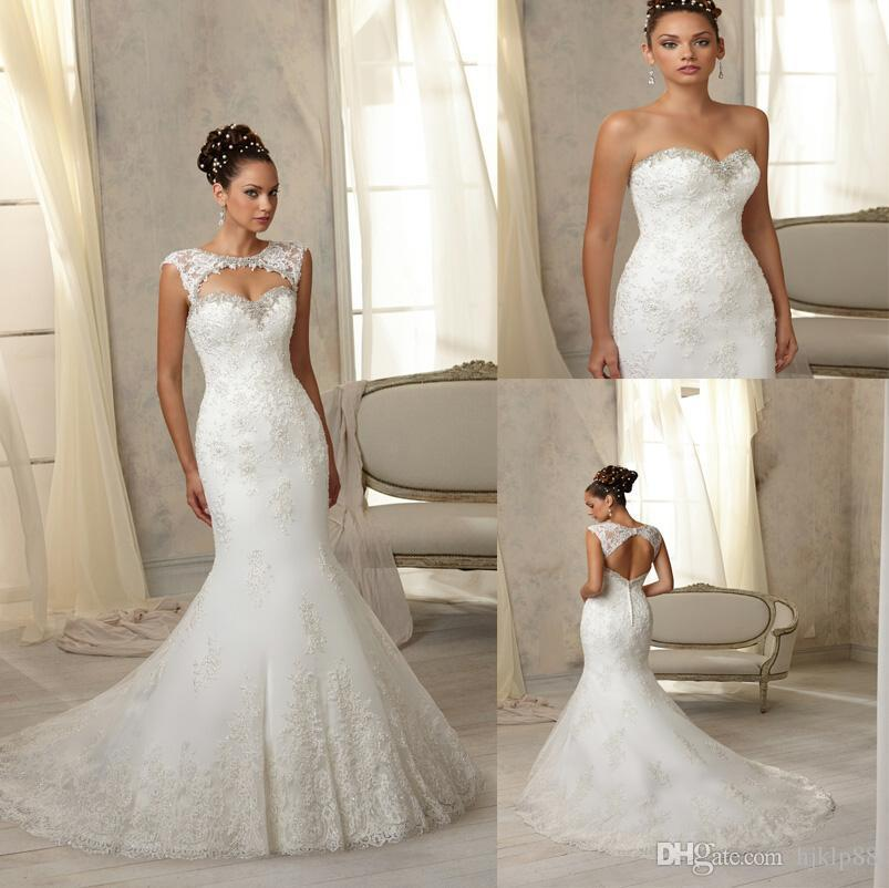 Mariage - 2016 New Arrival Sexy Sweetheart Strapless Mermaid Wedding Dresses Applique Beaded Bridal Gown Detachable Bolero Button Wedding Dress Online with $125.32/Piece on Hjklp88's Store