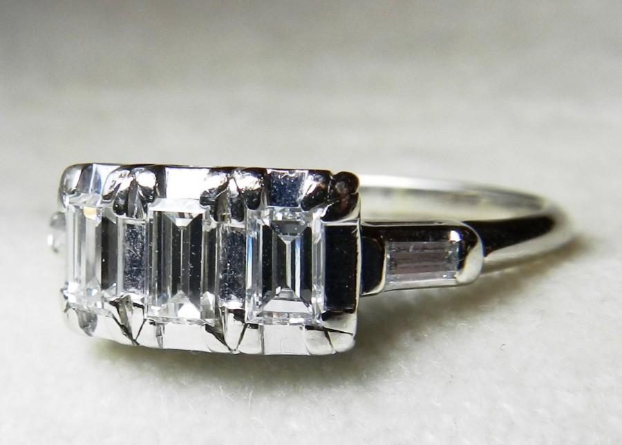Antique Engagement Ring 80 Ct Tdw Emerald Cut Diamond 14k White Gold Three Stone 1920s Art Deco Anniversary