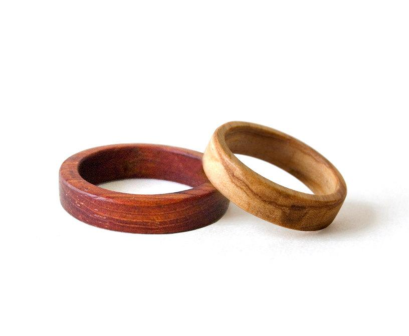 Wooden Wedding Bands Wooden Rings Set Weeding Rings Set His And