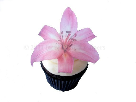 Mariage - Edible Cake Pink Lily - 12 Cupcake Toppers - Cake Decoration - Birthday Decoration