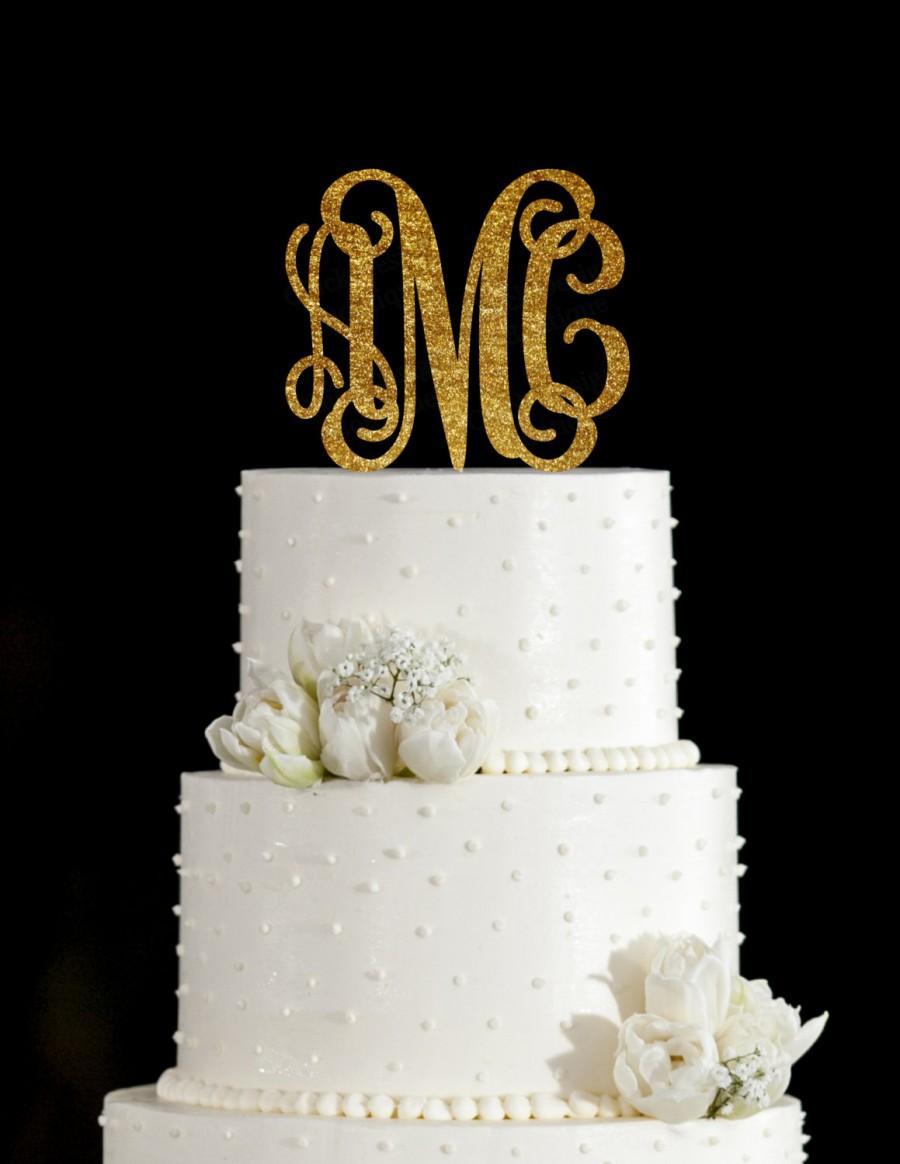 Mariage - Monogram Custom Acrylic Wedding Cake Topper