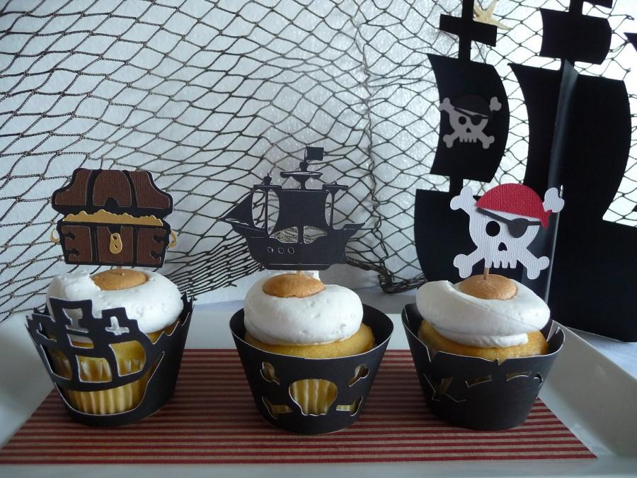 Pirate Cupcake Toppers Set Of 12 Pirate Ship Skull Bones