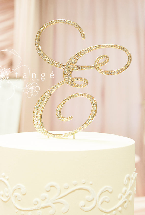 Mariage - Express Shipping Service, Initial E GOLD Metal Rhinestone Cake Toppers in any Letter A B C D E F G HJ K L M N P Q R S T V W Z cake topper