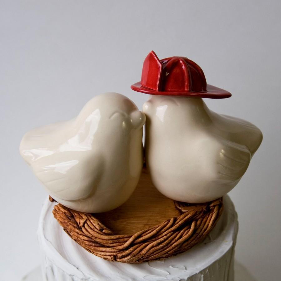 Свадьба - Ivory Firefighter Love Bird Cake Topper