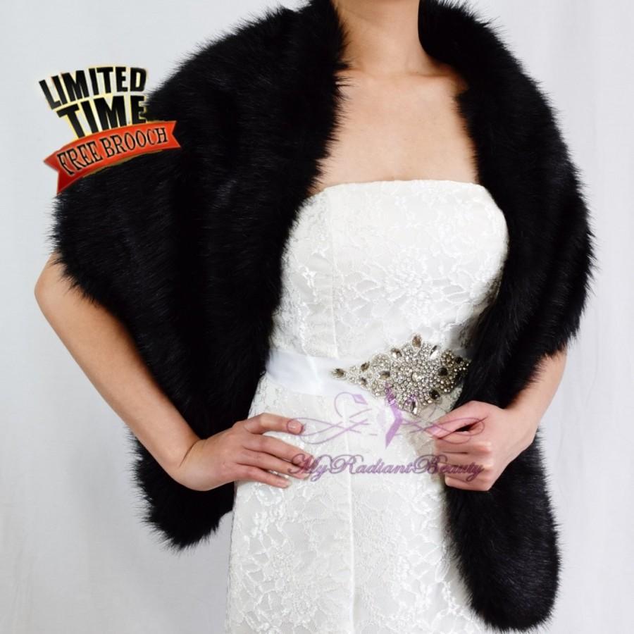 Faux Fur Wrap Shawl Bridal Black Stole Shrug Wedding 62 In Lw108 Blk