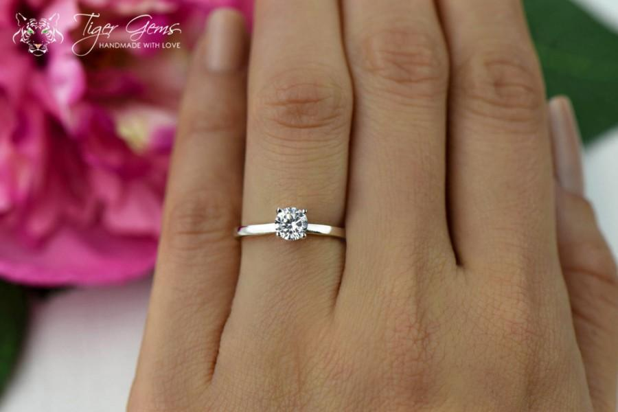 1/2 Carat Classic Solitaire Engagement Ring, Round Cut, Man Made Diamond  Simulant, Wedding Ring, Bridal Ring, Promise Ring, Sterling Silver