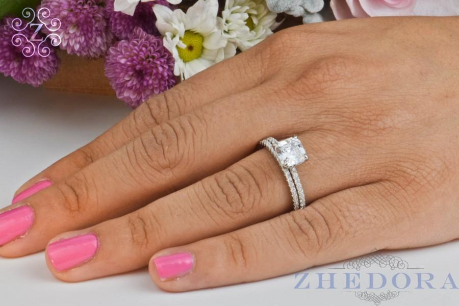 princess cut engagement ring set sterling silver with accent bridal set wedding set wedding band and ring by zhedora - Bridal Wedding Ring Sets