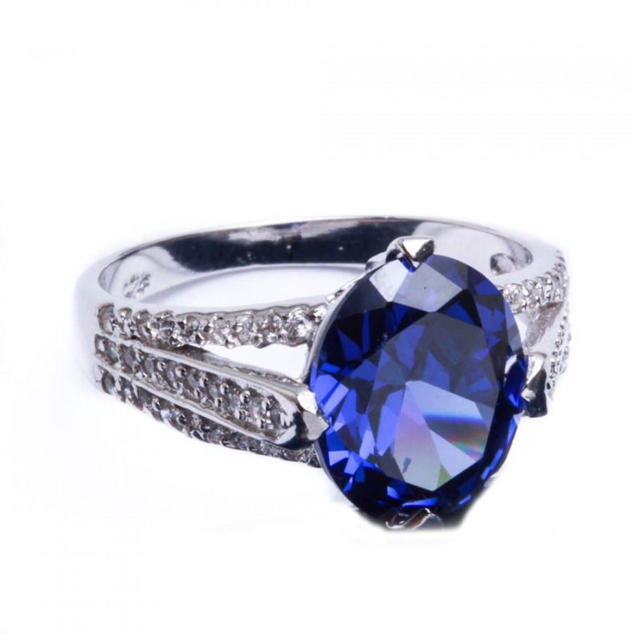 Tanzanite  Stone Diamond Accent Sterling Silver Ring