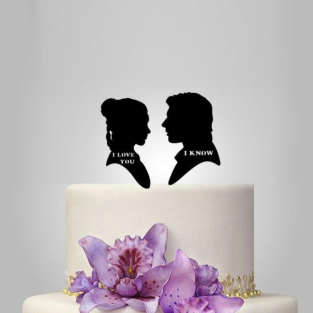 Свадьба - wedding Cake topper, StarWars Leia & Hans Solo, custom wedding cake topper, Mr and mrs wedding cake topper,  funny wedding cake topper,