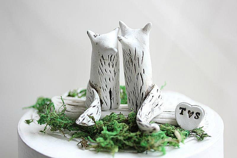 Mariage - Wedding cake topper Fox - Clay Fox - Wedding Fox - Rustic Wedding Cake Topper - Fox Cake Topper - Anniversary gift