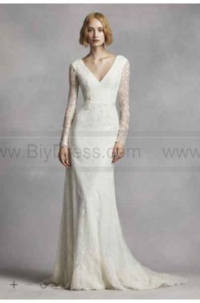 NEW White By Vera Wang Long Sleeve Lace Wedding Dress VW351270 2426949