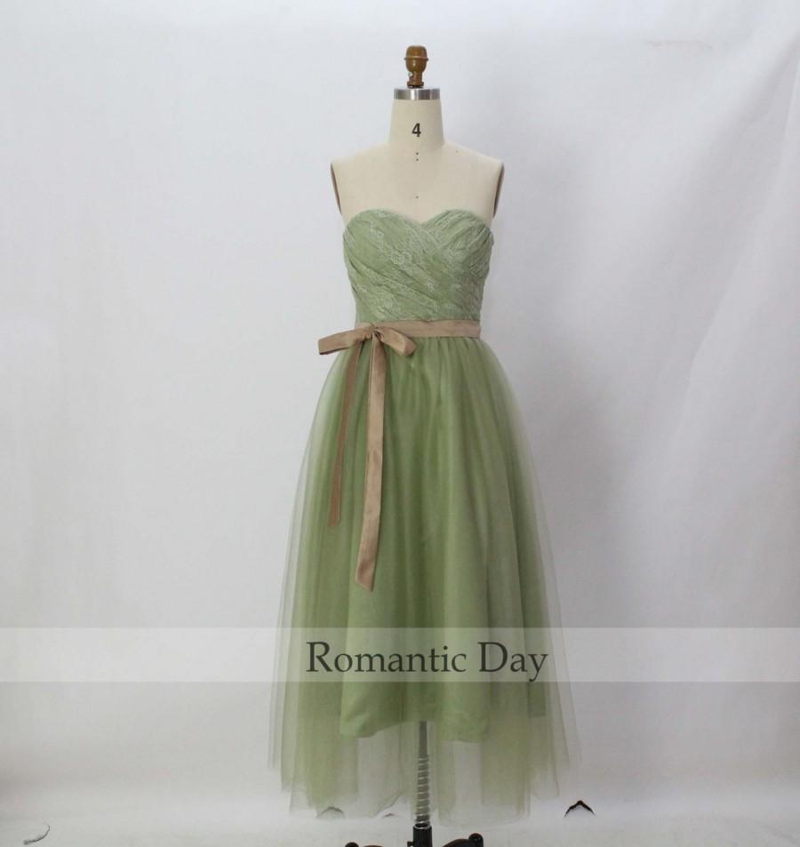 Свадьба - Best Selling Sage Lace Sweetheart Ribbons A-Line Bridesmaid Dresses/Party Dress/Sage Homecoming Dress/Sage Prom Dress/Plus Size Dress 0215