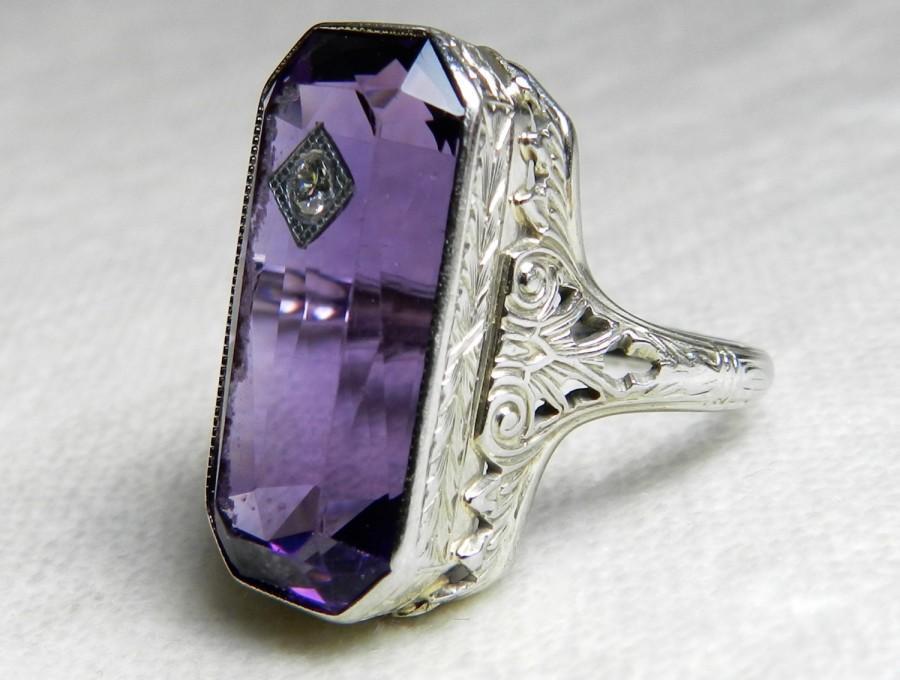 Mariage - Unique Engagement Ring 18K Art Deco Amethyst Ring 10 Carat Amethyst Engagement Ring Genuine Diamond 18K 1920s Engagement February Birthday