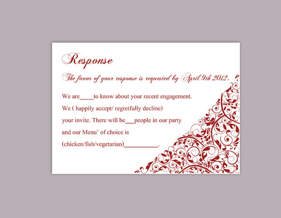 Diy wedding rsvp template editable text word file download rsvp diy wedding rsvp template editable text word file download rsvp template printable rsvp cards wine red rsvp card template elegant rsvp card pronofoot35fo Images