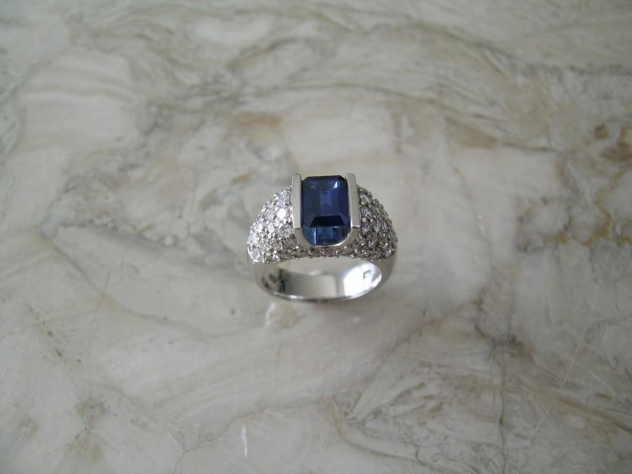 Old Unusual Shape Natural Sapphire Engagement Ring Diamond Accents 14K White