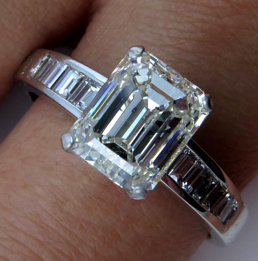estate gia 392ct emerald cut diamond platinum engagement wedding ring - Emerald Cut Wedding Rings