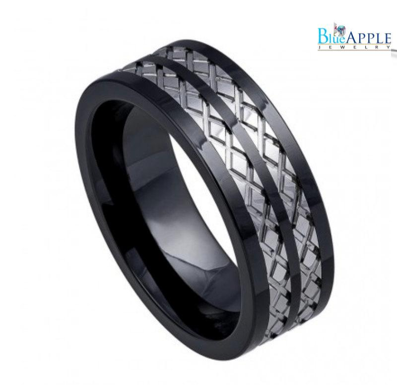 Свадьба - 8mm Band Ring His Hers Wedding Engagement Men Women Unisex High Polish Black Ceramic Textured Wrap around Diamond Tungsten Carbide Inlay