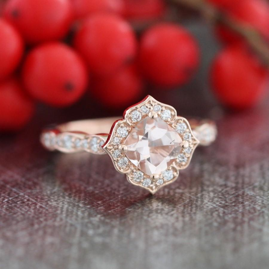 Mini Vintage Floral Morganite Engagement Ring 14k Rose Gold ...