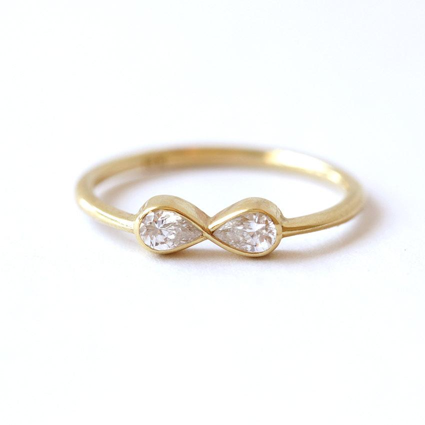 infinity ring gold. diamond infinity ring - engagement 18k solid gold v