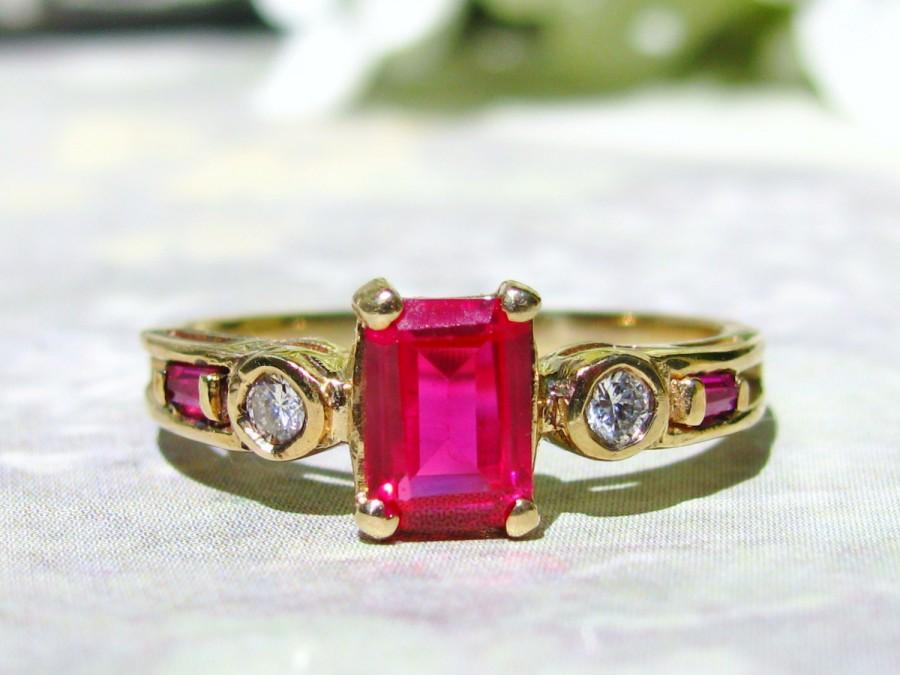 Emerald Cut Ruby & Diamond Vintage Engagement Ring 10K Yellow Gold Diamon