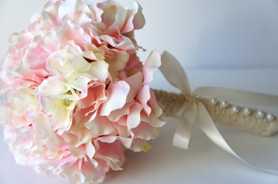 Blush pink hydrangea bouquet silk wedding flowers bridesmaid blush pink hydrangea bouquet silk wedding flowers bridesmaid bouquet rustic wedding vintage wedding bridal bouquet bride bridesmade mightylinksfo