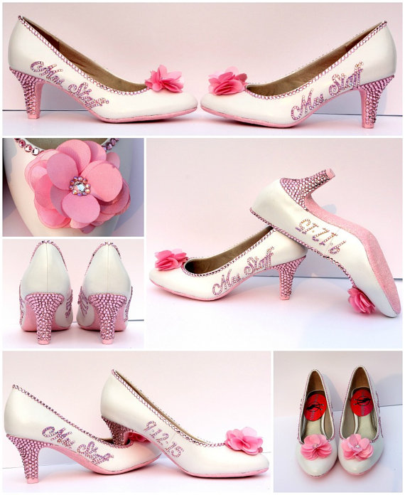 Light Pink Bridal Shoes -Bride's Name & Wedding Date ...