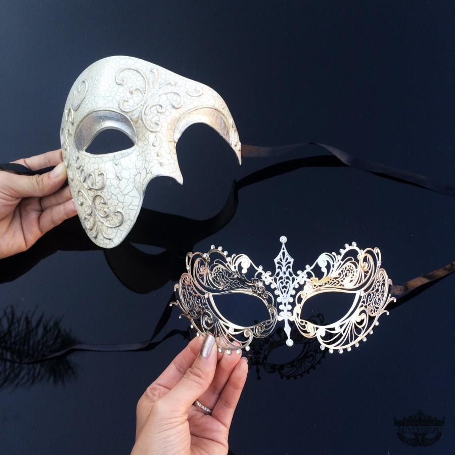 Свадьба - His & Hers Gorgeous Phantom Masquerade Masks [Ivory/Silver Themed] - Ivory Half Mask and Silver Laser Cut Masquerade Mask with Diamonds