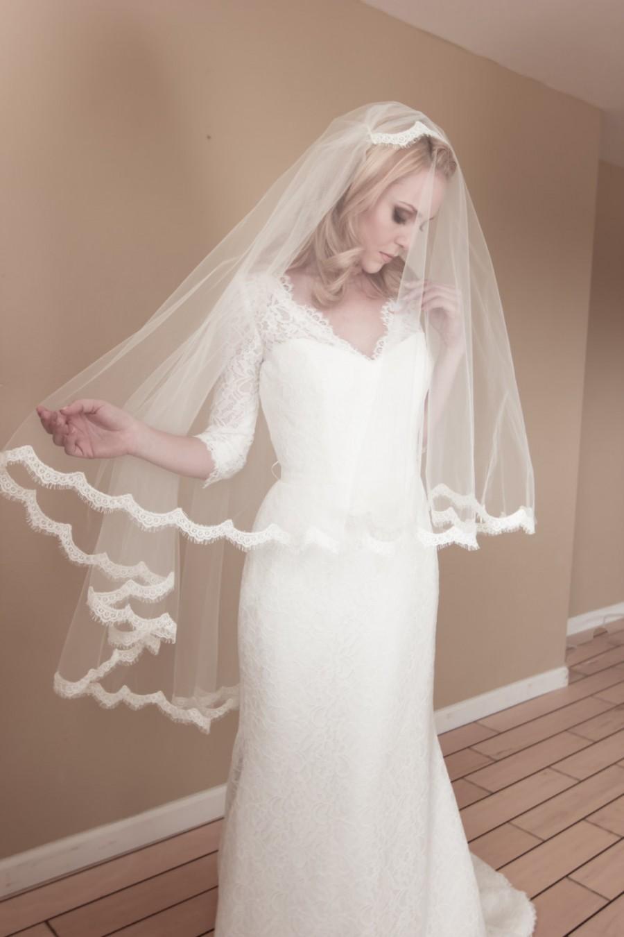 Свадьба - Alencon Eyelash Lace Juliet Bridal Cap Wedding Veil w/ Blusher, Fingertip, Waltz, Chapel, Cathedral, Style: Blushing Lady Lash #1433