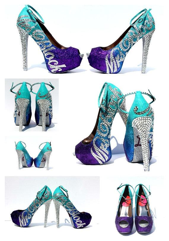Purple And Silver High Heels | Tsaa Heel
