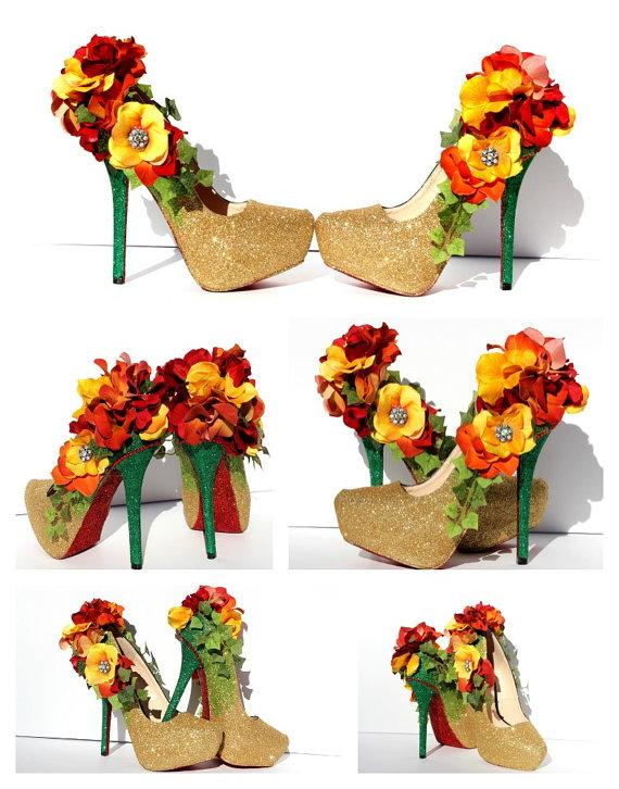 Mariage - Fall Flower Heels that are Custom Made to your liking