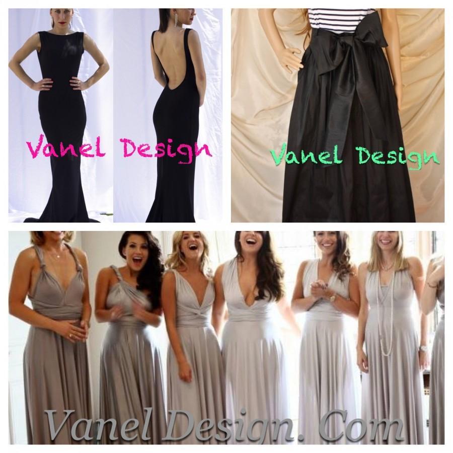 Mariage - Convertible Bridesmaid Dress Formal Dress Cocktail Dress Mermaid Dress Wrap Dress Bridesmaid Skirt Maxi Romantic Long Skirt Color Samples