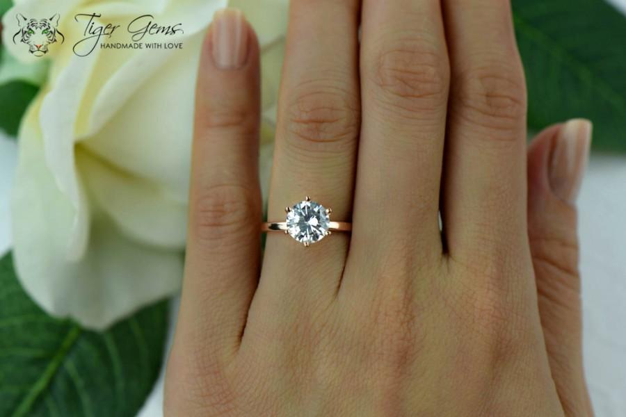 Mariage - 2 Carat 6 Prong Engagement Ring, Rose Solitaire Ring, Man Made Diamond Simulant, Wedding Ring, Bridal Ring, Promise Ring, Sterling Silver
