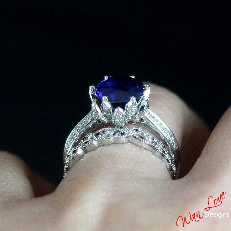 Mariage - Lotus Flower Blue Diamond & Sapphire Engagement Ring Leaf Filigree band set 3ct 9mm 14k 18k White Yellow Rose Gold-Platinum-Custom-Wedding