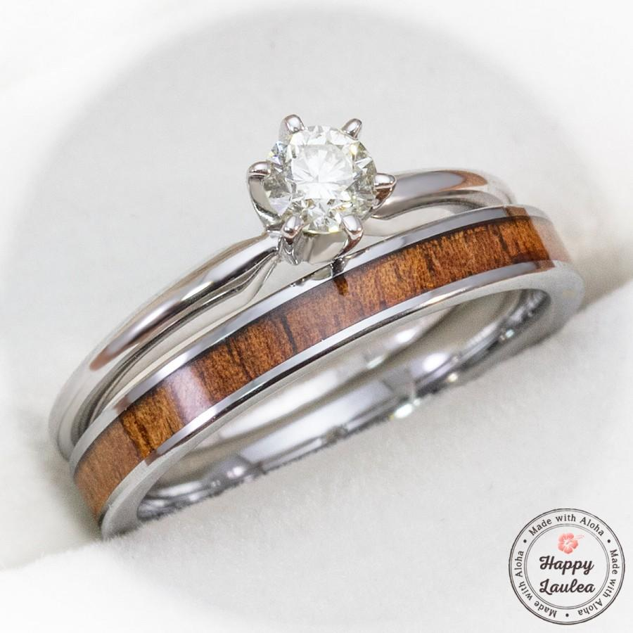 Mariage - 14k White Gold Solitaire .25CT Diamond Engagement Ring Set with Petite 3mm Width Tungsten Carbide Koa Wood Ring