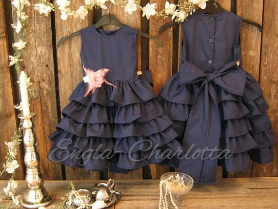 Mariage - Navy blue flower girl dress, cotton flower girl. Girls ruffle dress, dark blue. Toddler girls formal dress. Nautical boat wedding