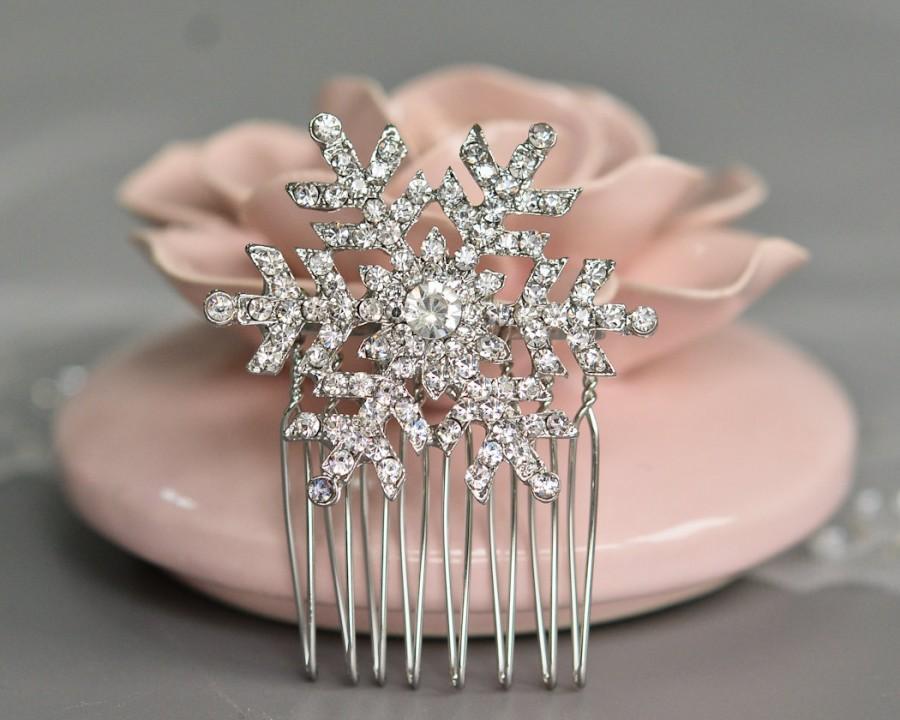 Свадьба - Snowflake Hair comb,Silver Tone Bridal Hair Comb,Wedding Hair Piece, Bridal Hair Comb,Charming Bride Bridesmaid Snowflake Hair Comb-10046