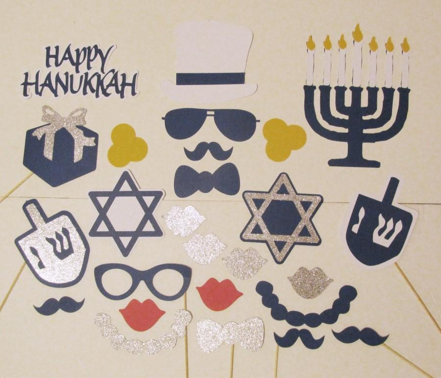 Свадьба - Photo Booth Props 26pc Hanukkah Party Decorations Chanukah Photo Props Hanukkah Photo Props Blue & White Decorations Hanukkah Party