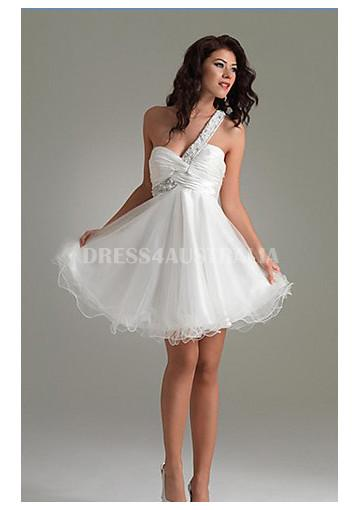 Buy Australia A Line Beading One Shoulder Organza Short Homecoming