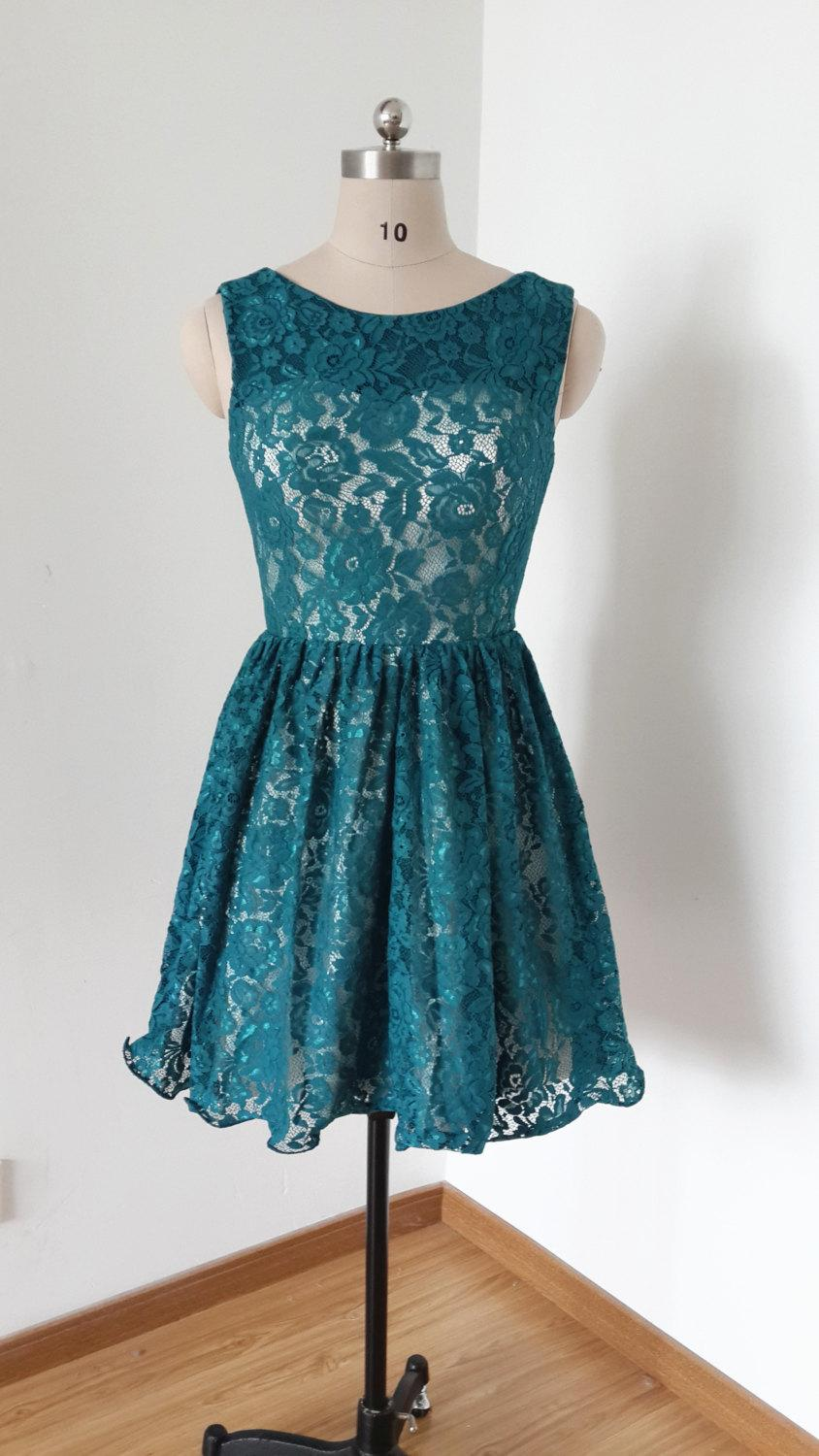 2015 V-back Dark Teal Lace Short Bridesmaid Dress #2427140 ...