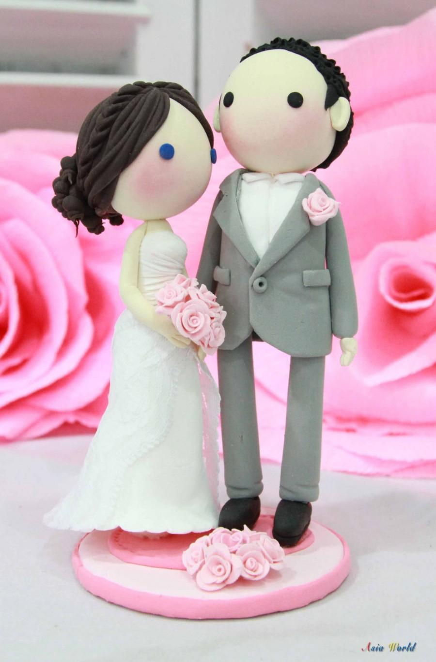 Wedding Cake Topper Pink Theme Lace Strapless Wedding Dress Clay ...