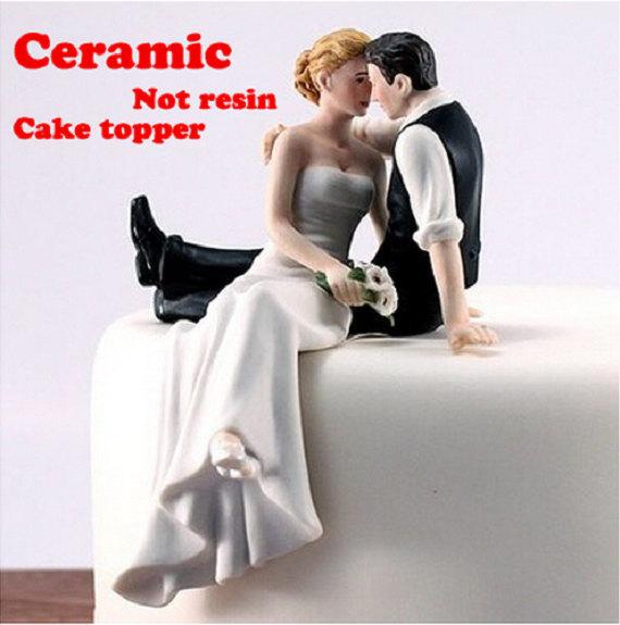 Hochzeit - Porcelain Ceramic Bride And Groom Wedding Cake Topper Proposal Couple Photo Remember Romantic