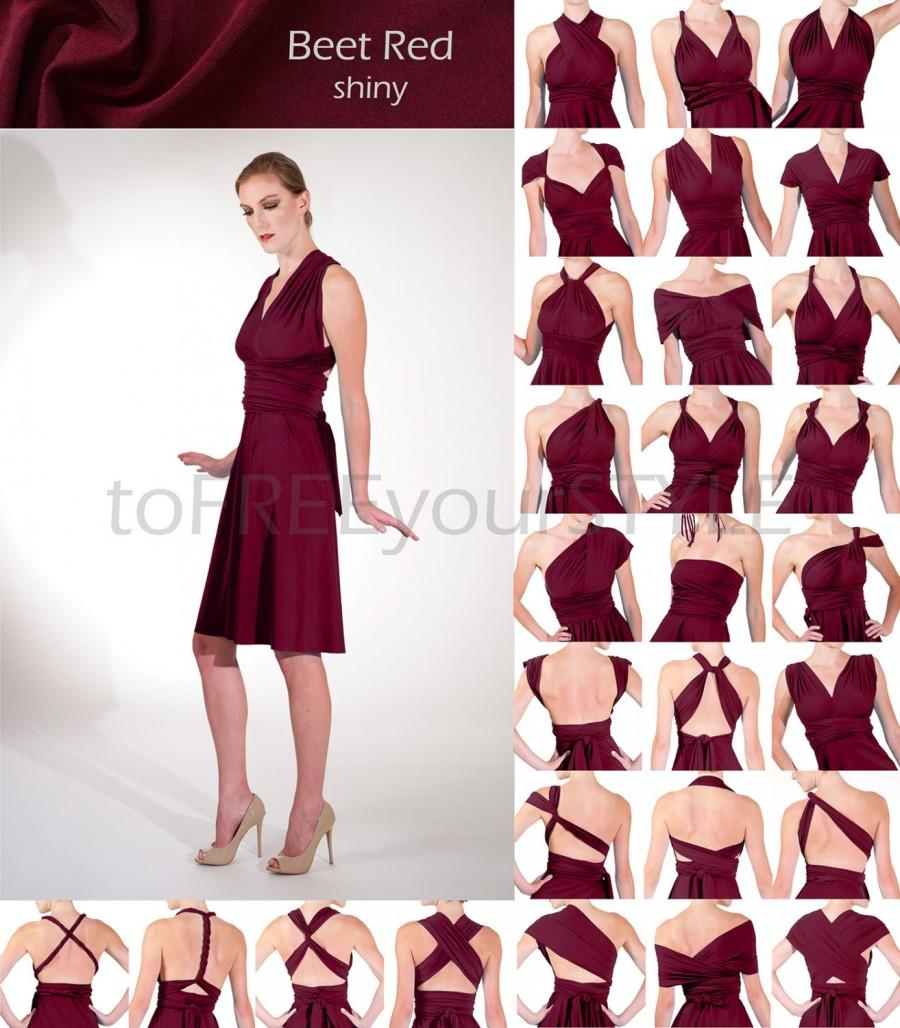 Wedding - Short infinity dress in BEET RED shiny, A-LINE Free-Style Dress, convertible dress, infinity bridesmaid dress, short formal dress, bridal