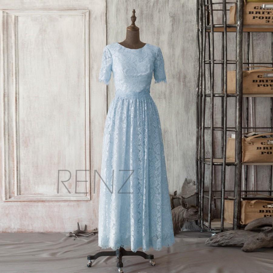زفاف - 2015 Light Blue Bridesmaid dress, Sky Blue Wedding dress, Scoop Neck Party dress, Formal dress, Elegant dress (FL133C)