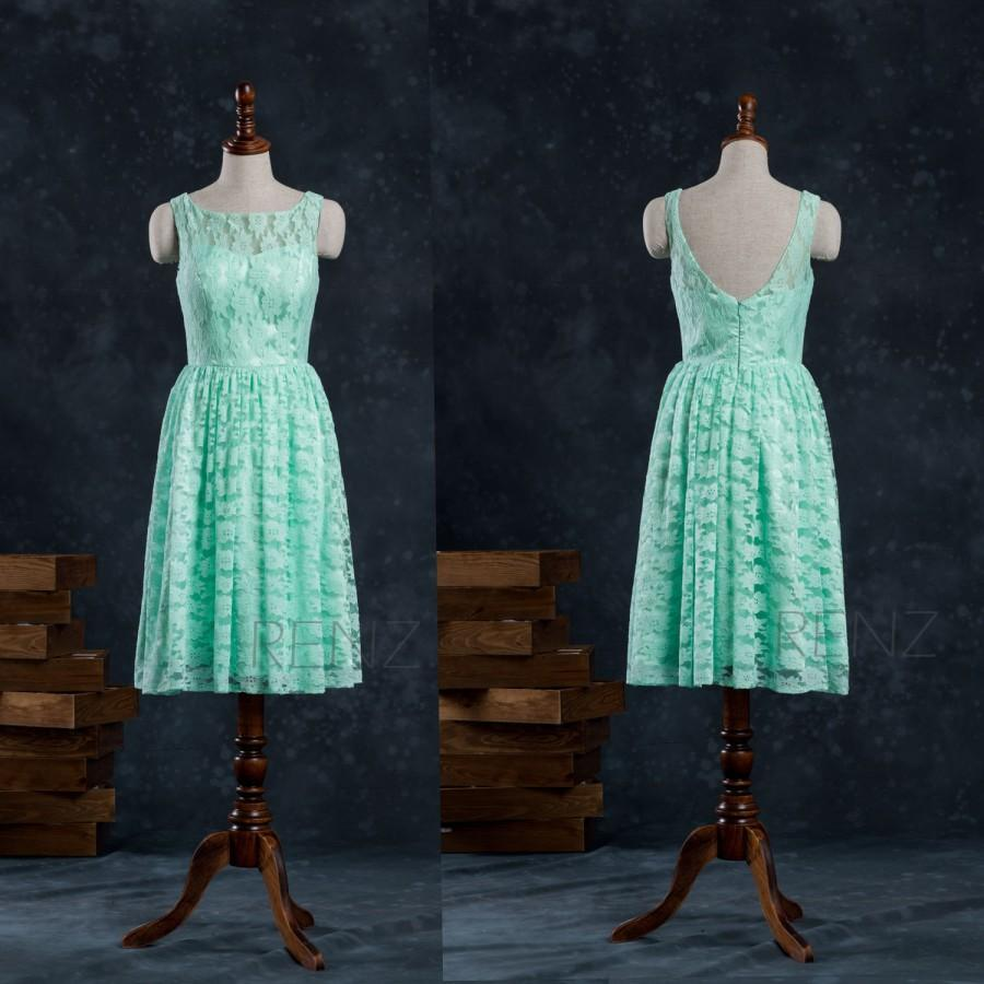 Wedding - Mint Lace Bridesmaid Dress, Wedding dress, Short Party dress, Prom dress, Formal dress (F005)