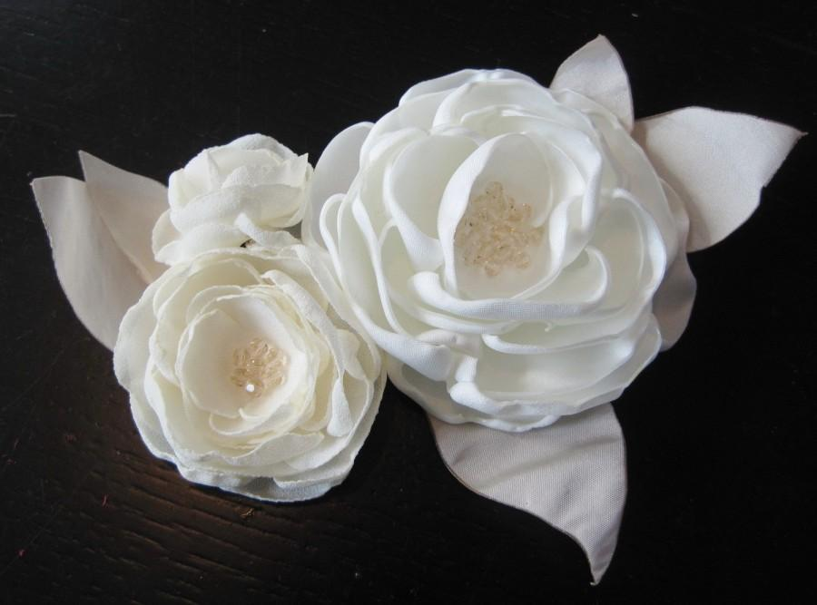 Fabric flower applique for dress or sash with crystals made to