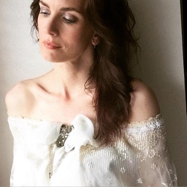 Düğün - Hand Beaded Lace Boho Gypsy Shawl Capelet